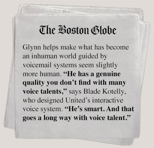 The Boston Globe reviews Tom Glynn Voice Over